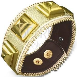 Kožený náramek - zlatý se zlatými pyramidami, zip