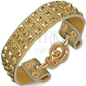 Náramek z kůže - zlatý se zlatými pyramidami a kruhovým zapínáním