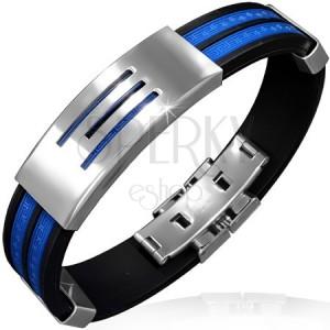 Náramek z pryže - modré pásy, známka se třemi pruhy