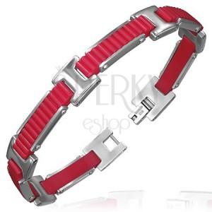 Gumový náramek - vroubkované pásy s H spoji, červený design