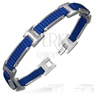 Gumový náramek - vroubkované pásy s H spoji, modrý design