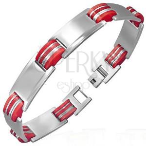 Náramok z ocele a gumy - matno-lesklé tabuľky s červenými oválmi