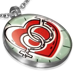 Kruhový přívěsek z oceli - srdce se symboly muže a ženy