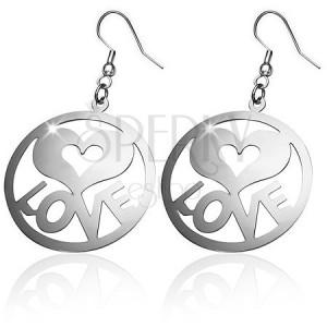 Ocelové náušnice - vyřezávané kruhy, nápis LOVE a srdce, háček