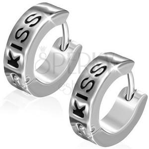 Ocelové náušnice - kruhy s černým nápisem KISS