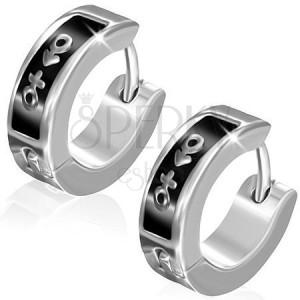 Náušnice z oceli - kruhy, symbol muže a ženy na černém pásu