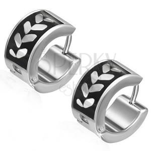 Náušnice z oceli - kruhy, listy na černém pásu