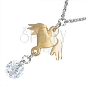 Náhrdelník z oceli - řetízek, zlaté srdce s křídly a čirý kámen