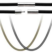 Gumová šňůrka na přívěsek - uzávěr z chirurgické oceli