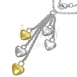 Ocelový náhrdelník - stříbrné a zlaté srdce na řetízcích