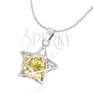 Kovový náhrdelník - jemný řetízek, 3D linie hvězdy se žlutým zirkonem