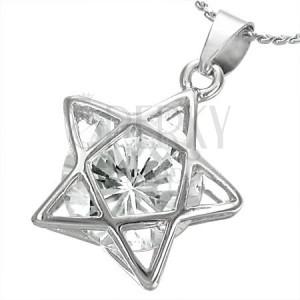 a3df3d280 Stříbřitý náhrdelník - jemný řetízek, 3D linie hvězdy s čirým zirkonem