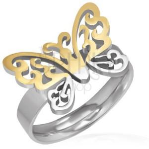 Ocelový prsten - vyřezávaný zlato-stříbrný motýl