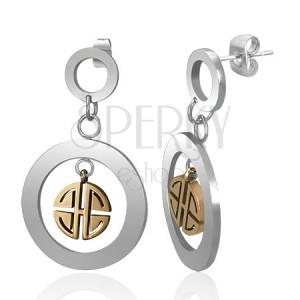 Ocelové visací náušnice - stříbrné kruhy se zlatým řeckým klíčem, puzetky