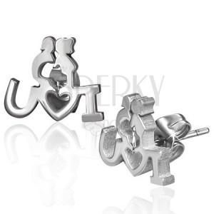 Puzetové ocelové náušnice - zamilovaný párek s vyznáním lásky