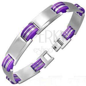 Oceľový náramok s gumou - matno-lesklé tabuľky s fialovými oválmi