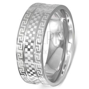 Ocelový prsten - obroučka s řeckým klíčem a šachovnicí