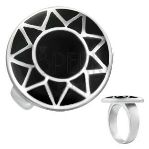 Ocelový prsten se stříbrným obrysem slunce v černém kruhu