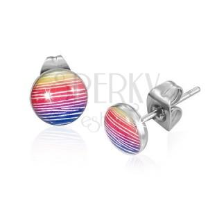 Ocelové náušnice - trojbarevné kruhy s bílými čarami, puzetky
