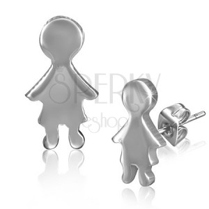 Hladké puzetové náušnice z oceli v podobě malého chlapce