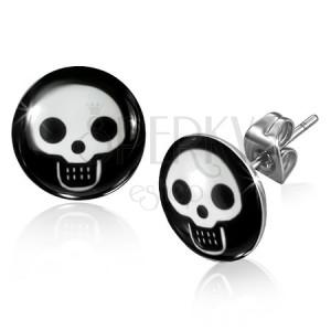 Puzetové ocelové náušnice - kruhy s bílými lebkami na černém pozadí