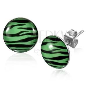 Náušnice z oceli - zebrový vzor v zeleno-černé kombinaci