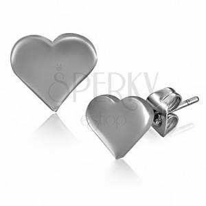 Ocelové náušnice - plochá lesklá srdce a puzetky
