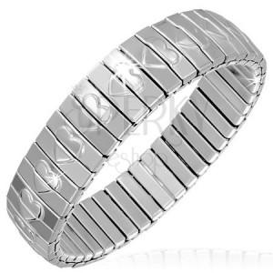 Náramek z ocelových článků - stříbrné obdélníky a srdce, roztahovací