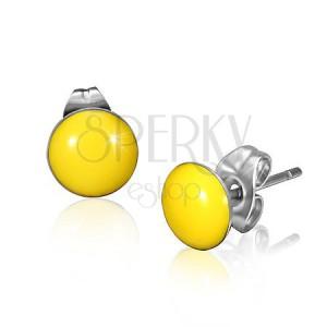 Ocelové náušnice se žlutými vypouklými kruhy a puzetkami