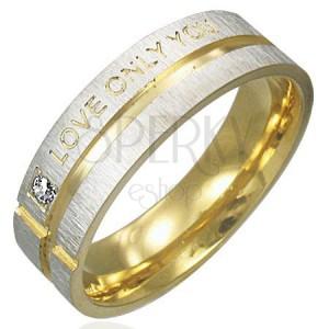Prsten z chirurgické oceli - stříbrný se zlatými pásy, vyznání lásky