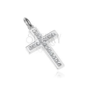 Stříbrný přívěsek 925 - křížek vykládaný zirkony, bílý podklad