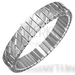 Stříbrný ocelový náramek - podlouhlé články, kosočtverce a drážky