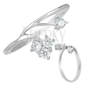 Stříbrný prsten z oceli se dvěma zirkonovými větvemi