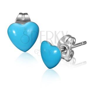 Ocelové náušnice s modrými srdíčky a puzetkami
