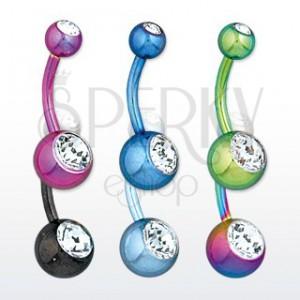 Ocelový piercing do bříška - kuličky s blýskavými zirkony, různé barvy, délka 11 mm