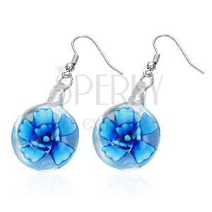 Náušničky s modrým květem ve sklíčku, na kovových háčcích