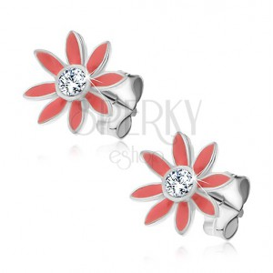 Náušnice ze stříbra 925 - pastelově růžové kvítky se zirkonem