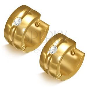 Zlatavé náušnice z chirurgické oceli - kruhy s prohlubní a čirým kamínkem