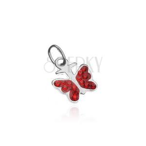 Stříbrný přívěsek 925 - motýlek s červenými zirkony