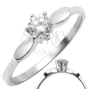 Ocelový prsten s čirým vystouplým zirkonem s ovály po stranách