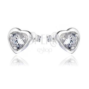 Stříbrné náušnice 925 - zirkon v srdcovém rámečku