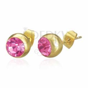 Náušnice z chirurgické oceli - zlaté kuličky s růžovým zirkonem