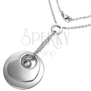 Řetízek z chirurgické oceli - přívěsky kruh, srdce a disk se zirkonkem