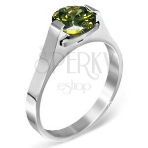 """Ocelový prsten - zelený měsíční kámen """"Květen"""", postranní úchyty"""