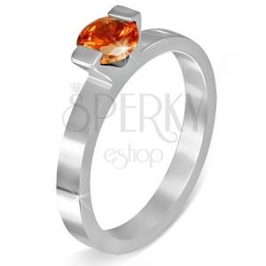 """Ocelový prsten - měsíční kámen """"Červenec"""", dva úchyty"""