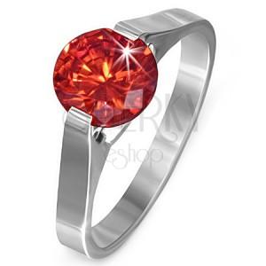 """Prsten z oceli - rubínově červený kámen """"Červenec"""", postranní úchyty"""