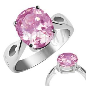 """Prsten z oceli - růžový kámen """"Říjen"""", slzičkové výřezy"""