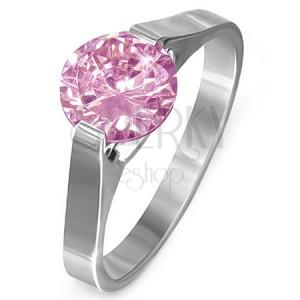 """Prsten z oceli - růžový kámen """"Říjen"""", postranní úchyty"""