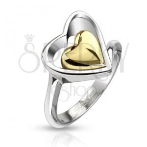 Prsten z chirurgické oceli - kontura srdce a zlaté srdce uprostřed