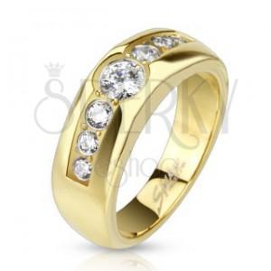 Prsten z chirurgické oceli - zlatý s linií sedmi čirých zirkonů